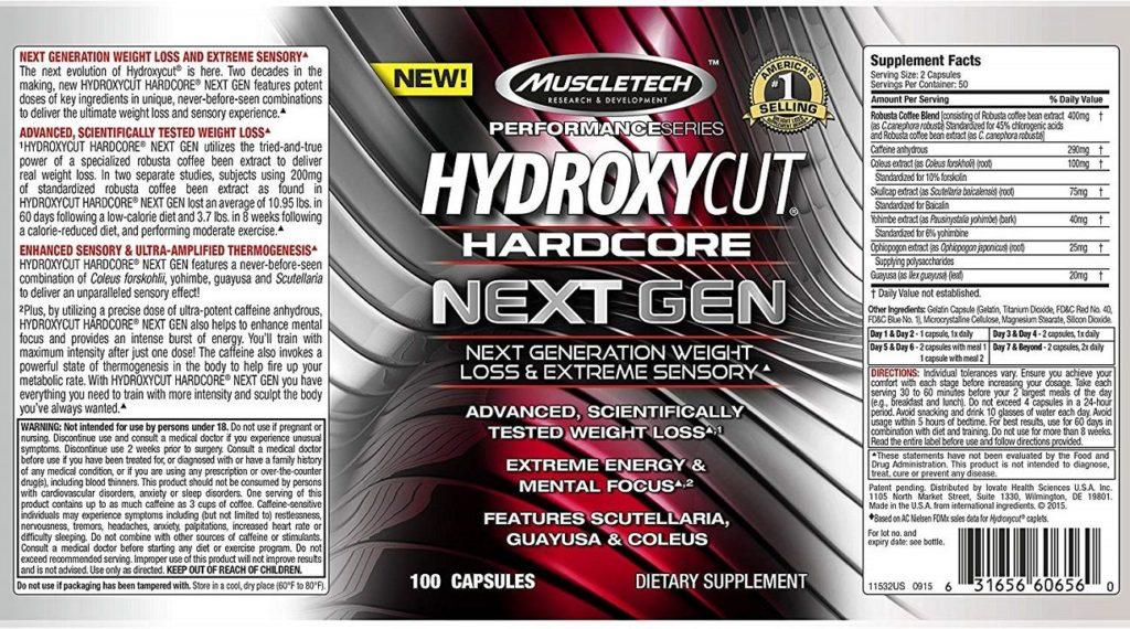 muscletech hydroxycut hardcore next gen ingredients